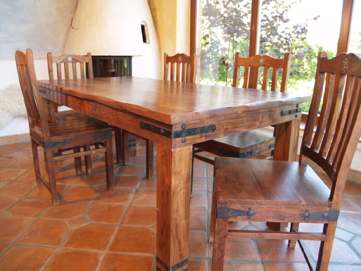 Esstisch Akazienholz ~ Esstisch mit runden Kanten & Beschlägen R509 hell