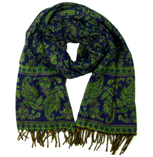 Soft pashmina scarf/stole with paisley pattern - blue/green - 200x100 cm