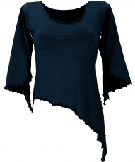 Psytrance Elf Shirt Goa chic with flared sleeves - black