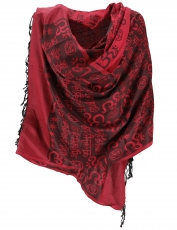 Pashmina Viscose Scarf/Stole with OM Pattern - red