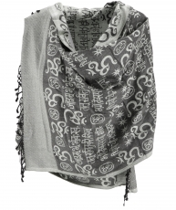 Pashmina viscose scarf/shawl with OM pattern - grey