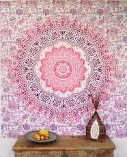 Indian mandala cloth, wall cloth, bedspread mandala print - white..