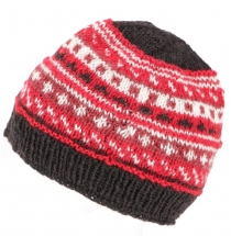Beanie cap, knitted cap - red