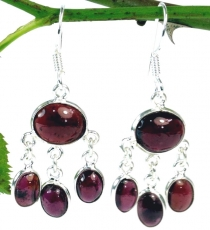 Indian silver earrings in Bollywood style, Boho earrings - Garnet