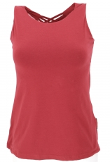 Yoga top with elaborate back part in organic quality - paprika