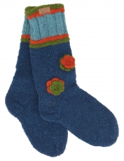 Hand-knitted sheep wool socks with flowers, house socks, Nepal so..