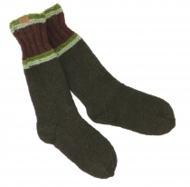 Hand-knitted sheep wool socks, house socks, Nepal socks - olive g..