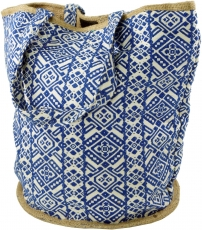 Handmade Boho Shopper carrier bag, beach bag, shopping bag - blue