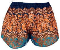 Leichte Pantys, Print Shorts - orange/türkis