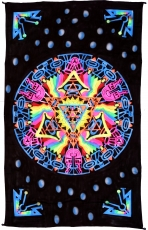 Goa wall cloth, UV black light wall hanging, pcychedelic mural - ..