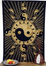 Indian wall cloth, batik bedspread - Ying Yang/ochre