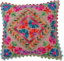 Boho cushion cover, colourful embroidered folklore cushion in mex..