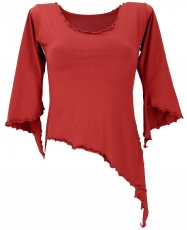 Psytrance Elf Shirt Goa chic with flared sleeves - rust red
