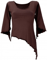 Psytrance Elf Shirt Goa chic with flared sleeves - coffee