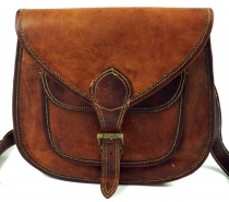 Boho shoulder bag, camel leather shoulder bag