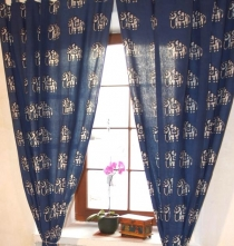 curtain, curtain (1 pair of curtains, curtains) with loops, hand ..