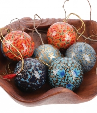 Upcyceling Christmas Balls Set made of paper mache, handpainted C..
