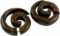 Tribal wooden earring, wooden spiral, fake plug