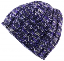 Beanie cap, warm knitted cap - purple