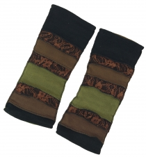 Goa, Psytrance leg warmers, gauntlets - brown