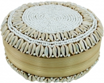 Exotic basket box with Kauri shell, jewellery box in 2 sizes
