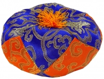 Singing bowl pillow - blue/orange