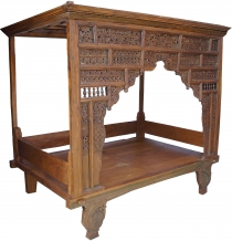 Historic four-poster bed, teak daybed - Model 1
