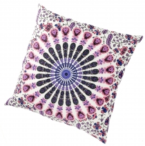 Boho cushion cover mandala, printed folklore cushion - light pink