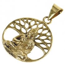 Amulet `Buddha under the Bodhi tree` chain pendant made of brass
