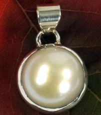 Ethno Silver Pendant, Indian Boho Chain Pendant - Mother of Pearl