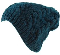 Beanie cap, knitted cap with plait pattern - petrol