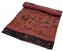Embroidered Indian bedspread, wall cloth - bordeaux