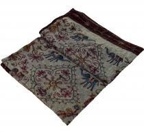 Embroidered Indian Bedspread, Wallduch - pigeon blue