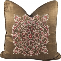 Embroidered cushion cover, pillowcase - Mandala Bali brown