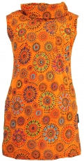 Embroidered girls tunic with shawl collar, short sleeve ethno min..