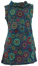 Embroidered girls tunic with shawl collar, short-sleeved ethno mi..