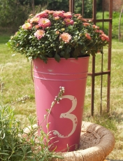 Decorative bucket, planter, metal flower vase - large
