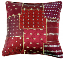Oriental cushion cover, pillowcase Saree Patchwork - red