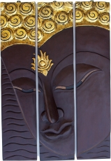 Threepart Buddha mural, dark brown, left looking 76*50 cm - Desig..