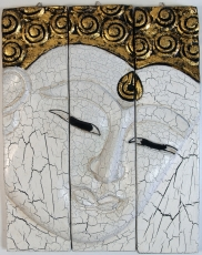 Threepart Buddha mural, white gold 39*30 cm - Design 2