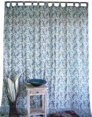 Boho curtains, curtain (1 pair ) with loops, hand printed ethno s..