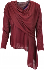 Convertible wrap jacket, Boho cardigan - bordeaux red