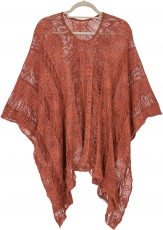 Summer poncho, oversize boho poncho, lace poncho - rusty orange