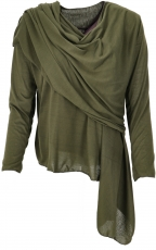 Convertible wrap jacket, Boho cardigan - olive green