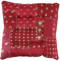 Oriental brocade quilt cushion, chair cushion 40*40 cm - wine red
