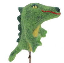 Handmade finger puppet made of felt - Crocodile