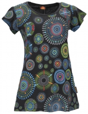 Short sleeve tunic, embroidered longtop mandala - black