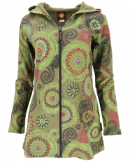 Long Boho Hippie chic jacket, embroidered jacket - olive/lemon