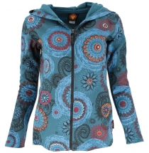 Boho Hippie chic jacket, embroidered jacket - petrol/turquoise
