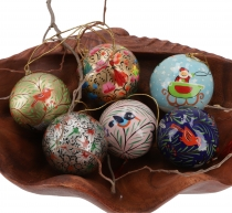 Upcyceling Christmas ball set made of paper mache, handpainted Ch..